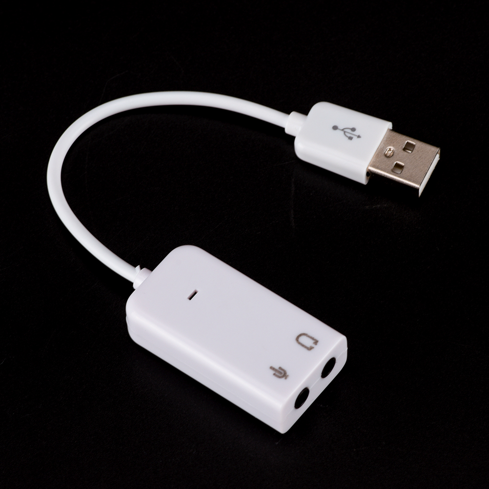 JETTING 3D White USB 2.0 Virtual 7.1 Channel External USB Audio Sound Card Adapter Sound Cards For Laptop PC Mac With Cable 6