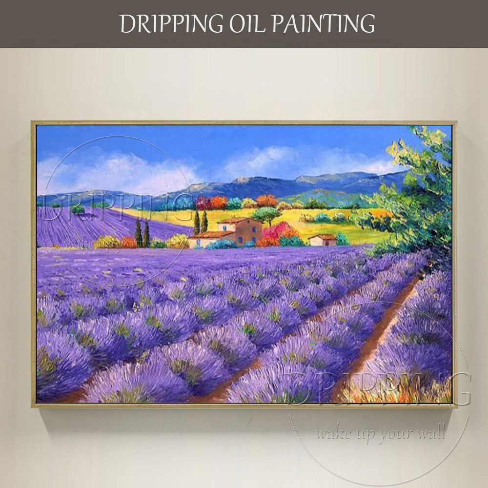 Beautiful Wall Decorative Painting Hand-painted Vivid Colors Lavender Field Oil Painting on Canvas Colorful Landscape Painting