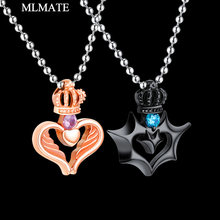 10dd6adc21 1pcs His & Hers Stainless Steel Couples Gift King Queen Crown Pendant Love  Heart Crystal Necklace Set for Lover Valentine