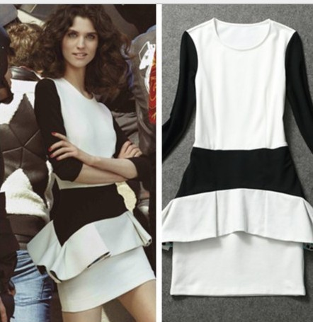 Bodycon Dress 2013 Cute printed Frilled Hem 3/4 Sleeves Mini Bandage Dress Black And White Patchwork Block Color S M L AW13D029