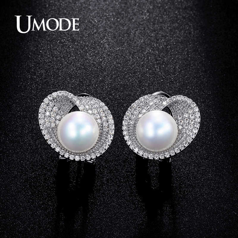 UMODE Brand Fashion Wedding Jewelry Sets for Women Simulated-pearl Round Necklace / Earrings Crystal Jewelry Sets Gift AUS0040B