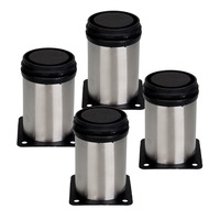 ASLT 4PCS New Stainless Steel Bed Office Furniture Round Adjustable Cabinet Feet