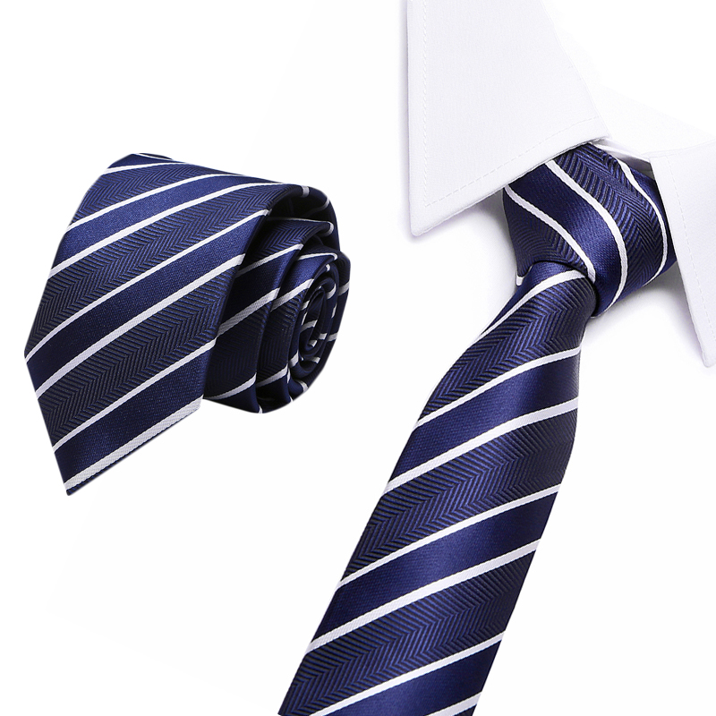 Jacquard Stripe Navy Plaid Skinny Ties For Men Wedding Tie Slim Men Luxury Tie Designers Fashion Kravat Neckwear Necktie 8cm