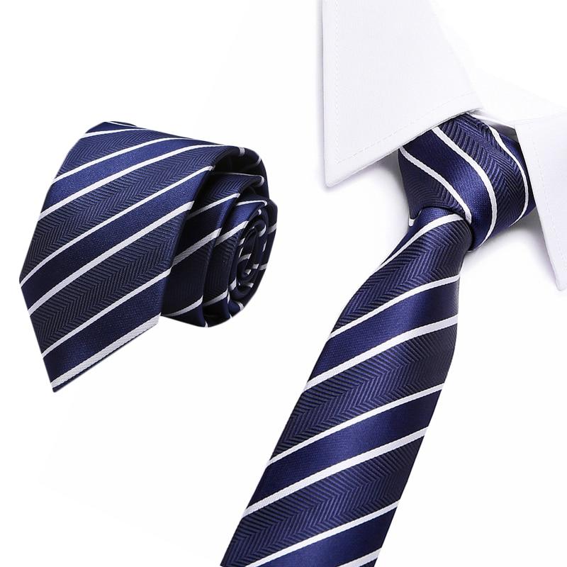 Jacquard Stripe Navy Plaid Skinny Ties For Men Wedding Tie Slim Men Luxury Tie Designers Fashion Kravat Neckwear Necktie 8cm