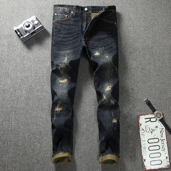 Japanese Style Fashion Men Jeans Retro Wash Dark Color Vintage Ripped Jeans Men Denim Distressed Pants Streetwear Hip Hop Jeans 2017 new designer men jeans dsel brand jeans men high quality dark color retro ripped jeans for men distressed jeans denim pants