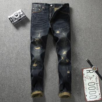 цена на Japanese Style Fashion Men Jeans Retro Wash Dark Color Vintage Ripped Jeans Men Denim Distressed Pants Streetwear Hip Hop Jeans