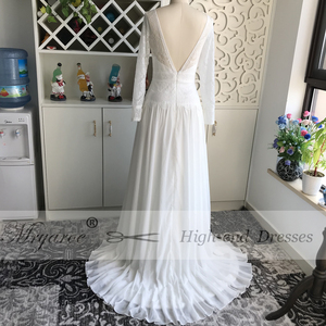Image 4 - Mryarce 2019 Boho Chic Exclusive Lace Rustic Wedding Dress Illusion Long Sleeves Open Back Bridal Gowns