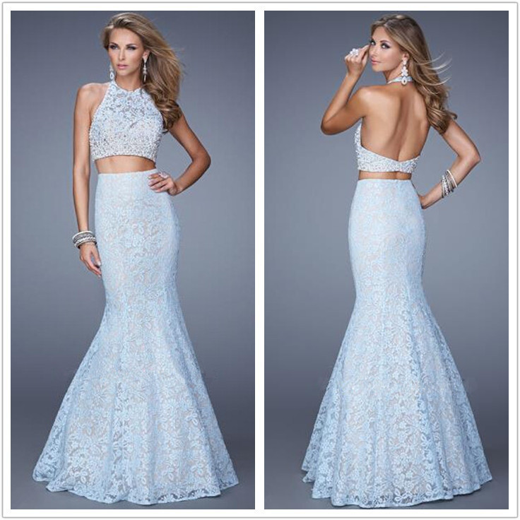 summer style 2018 New Design 2 piece mermaid prom backless lace beaded high neck vestido de festa Prom   bridesmaid     dresses