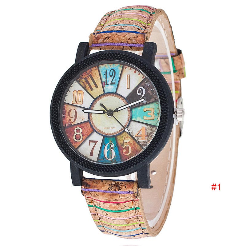 Harajuku Style Quartz Watch Women Simple Unique Pattern Clock PU Leather Band Vogue Wristwatch Casual Couple Lover Gift LL@17