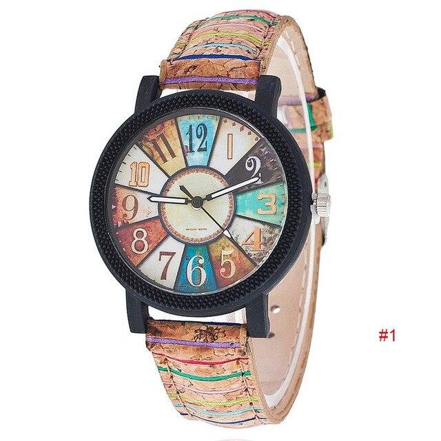 Harajuku Style Quartz Watch Women Simple Unique Pattern Clock PU Leather Band Vo