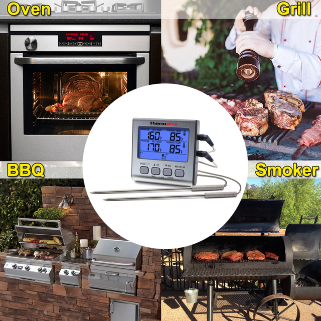 ThermoPro TP17 Dual Probe Outdoor Cooking Meat Thermometer Large LCD Backlight Food Grill Thermometer with Timer Mode for Smoker