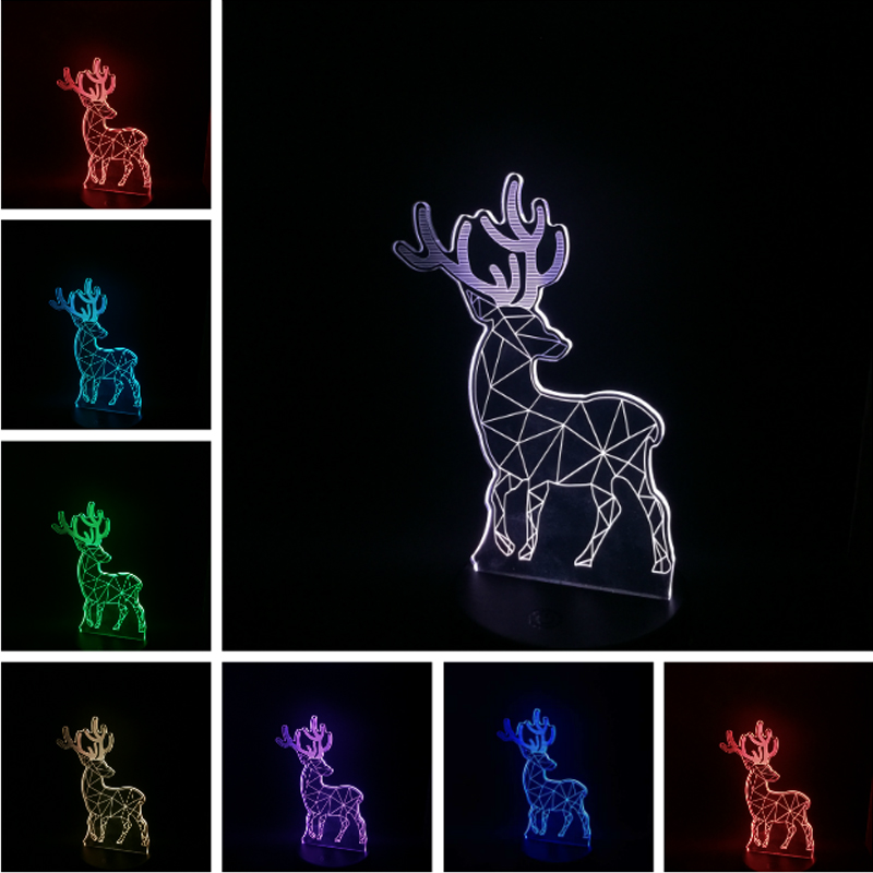 Box day Kid baby gift 3D Christmas Deer lava lampara Bedroom Office Home Desk Table Decor Lamp Night Light Holiday Party free shipping christmas deer table european diy arts crafts home decorative elk wood craft gift desk self build puzzle furniture