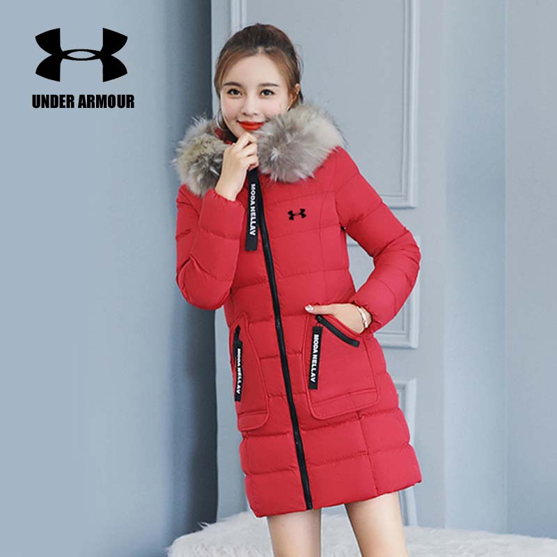 Under Armour Winter Jacket women thick warm hooded overcoat Detachable Fur Collar Windproof running Jackets Asian size M-4XL все цены