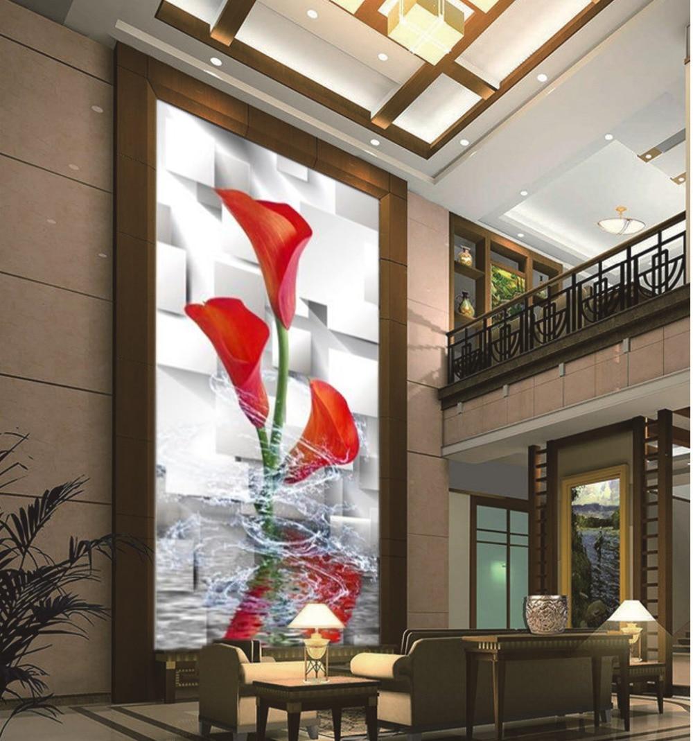 Wholesale Digital Printing 3d Effect Wallpaper Delicate Red Calla