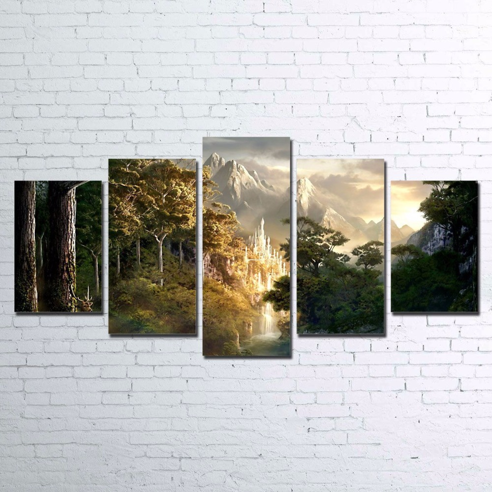 Canvas Pictures Living Room Decor HD Print 5 Pieces Castle In The Mountains Painting Wall Art Lord Of The Rings Poster Framework