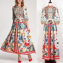 Chic women lantern sleeves vintage dress 2018 Spring autumn stand collar floral print dress D706 недорого