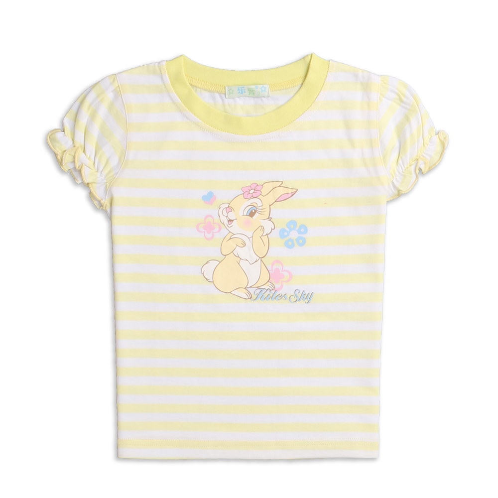 LeJin Children Girl Clothing Shirt Girls Blouse Tops Summer Wear Short Sleeve Printed 100% Cotton Jersey