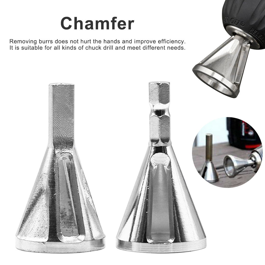 Free Shipping Stainless Steel Remove Burr Tools 22mm Drill Chuck Deburring External Chamfer Tool  for Bit Hand