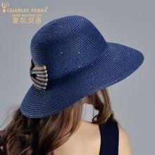 Charles Perra Sun Hats Female Fashion Elegant Straw Hat Collapsible  Butterfly Knot Women Summer Beach Sunscreen a3d1979b8ca2