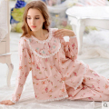 Korean women 's cotton long - sleeved Korean version of the sweet cute lace Floral pajamas cotton household clothes suits