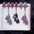2016 new brand Crystal gem balloon rhinestone drop earrings women balloon asymmetrical cute bear bride earring gift jewelry