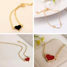 Fashion Red Love Heart Metal Gold Color Bracelets For Women Bracelets & Bangles Best Gift Party Wedding Jewelry Wholesale SL01