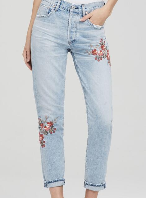Women Jeans 2017 Newest Female High Waist Floral Embroidery Washed Slim Long Pant Denim Jeans Trousers