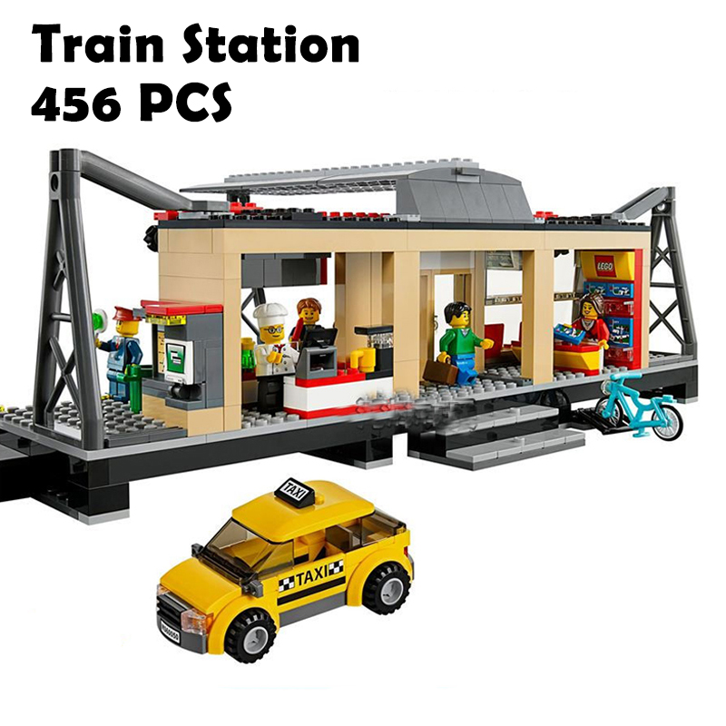 Model Building Blocks toys 456Pcs 02015 Train Station Compatible with lego City Series 6 ...
