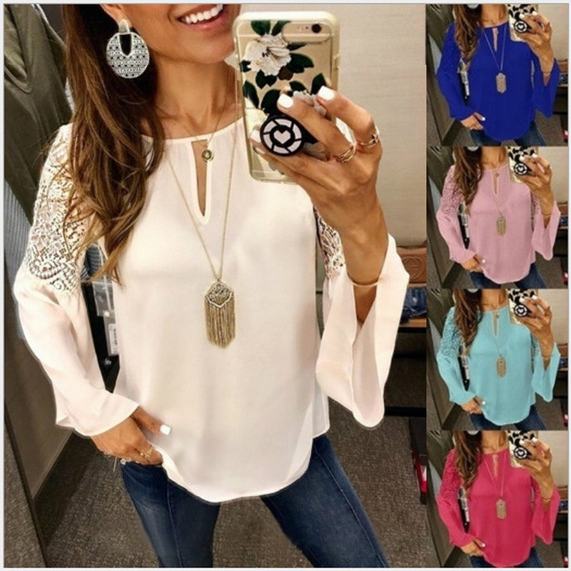 2019 New Autumn Fashion Splice Horn Long-sleeved Chiffon Blouse Solid Color Women's Clothing Five Colours Casual Shirt