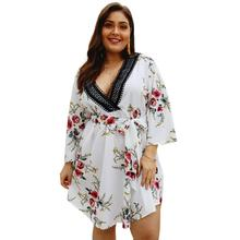 Plus Size S-4XL Dress Elegant Summer Women Boho Floral Print Beach Wrap Casual Short Sleeve Dresses Sexy Party Vestidos