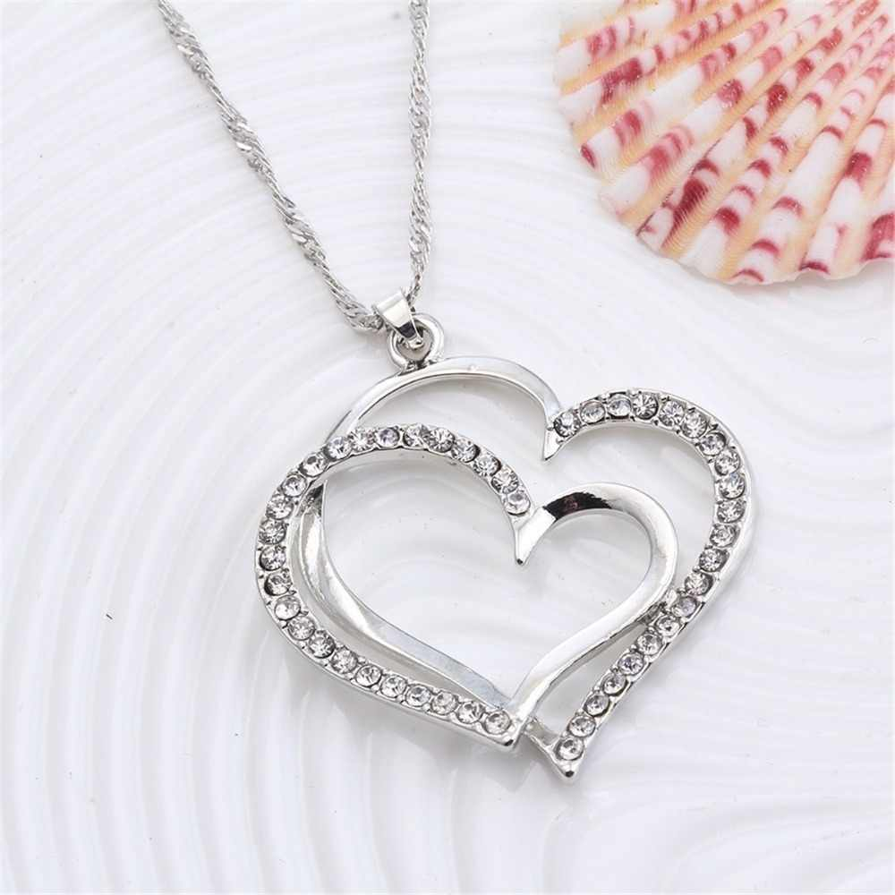 Romantic Women Jewelry Sets 925 Sterling Silver Crystal Necklace Earrings Doubled Love Heart Necklace&Earrings Jewelry Set