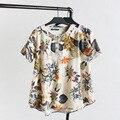 2016 Mulheres Novas T-Shirts Tops & T Impresso Manga Curta O Pescoço Moda Feminina Solta Camisetas de Algodão Casual Oversize 4XL K-37B
