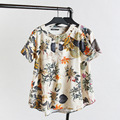 2016 New Women T-Shirts Printed Tops & Tees Short Sleeve O-Neck Fashion Ladies Loose Casual Cotton T-Shirts Oversize 4XL  K-37B