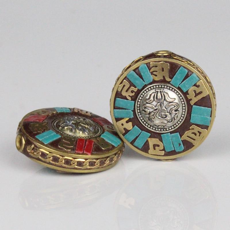 Tibetan Style Handmade Round Spacer Beads 29x13mm Copper Nepal Charm Pendants Beads Women Men DIY Buddha Jewelry Making Findings