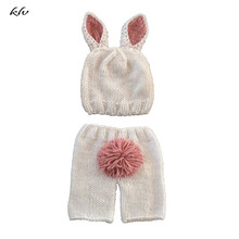 Pink Rabbit Newborn Baby Girls Boys Crochet Knit Costume Photo Photography Prop Hats Outfits for 0-6 Months стоимость