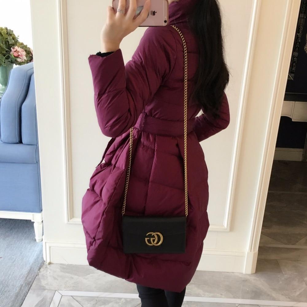 Grape Pure D'hiver Hiver Mode 2018 Haut Outwear Longue Parkas De Couleur black Femmes Zipper Wine Nouvelles red Gamme Revers Marque Ch286 Purple CwxKTqgA