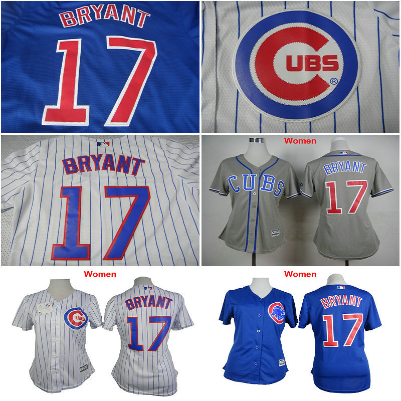 the best attitude 398e6 a3d2a Women Chicago Cubs shirts 17# Kris Bryant girls baseball ...
