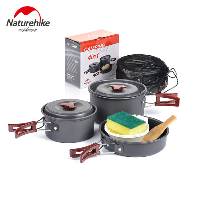 Naturehike Camping Pots Picnic Barbecue Supplies Outdoor Cooking Utensils Portable Combination Pot Sets Tableware 2 3 Person