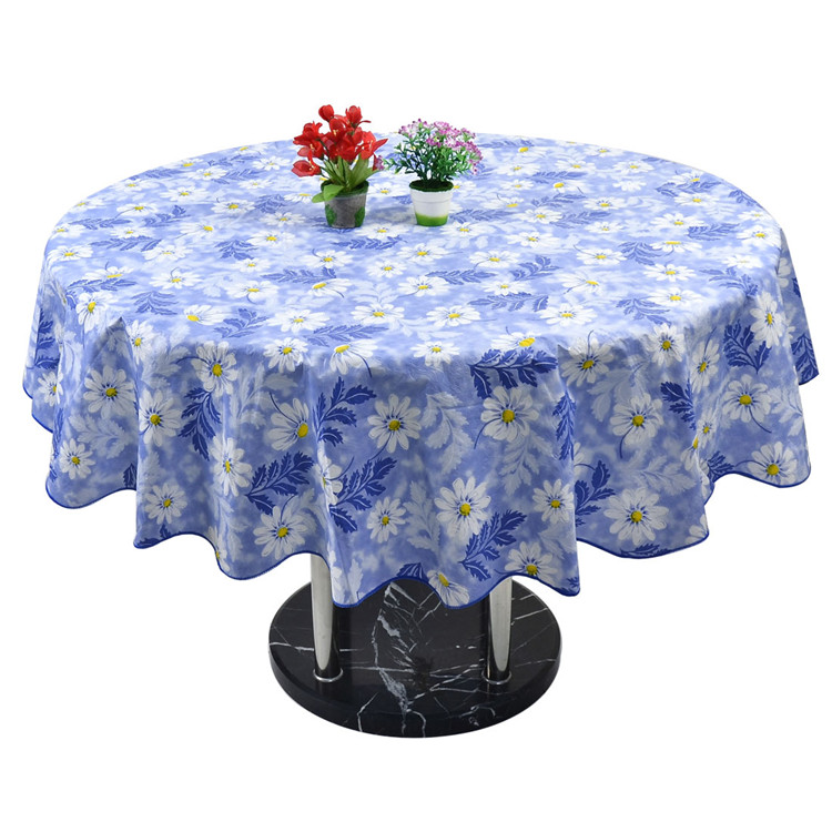 Home Picnic Round Flower Pattern Water Resistant Oil Proof Tablecloth Table  Cloth Cover 60 Inch