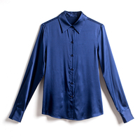 Nagodo Blue Shirt Women 2018 Autumn Offie Lady Long Sleeved Bottoming Silk Shirts Satin Work Wear Blouses Top Camisas Mujer