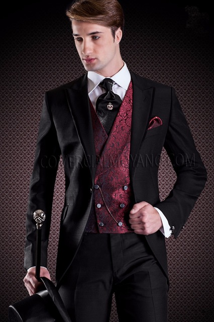 Latest Coat Pant Designs Black Double Ted Italian Pattern Custom Wedding Suits For Men Groom Slim