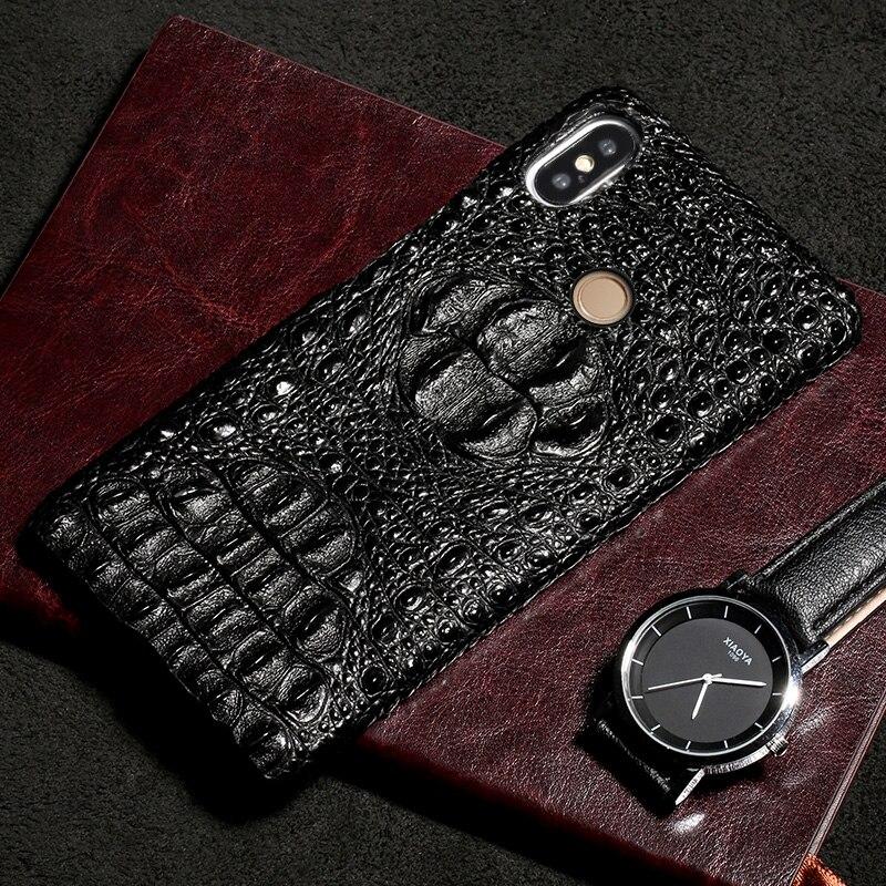 Étui de luxe en cuir véritable crâne de Crocodile pour Xiao mi mi 6 8 8SE 8 Explorer A2 mi x 2 S 9 9SE rouge mi Note 4X coque de téléphone couverture arrière