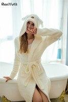 Renyvtilピンク女性の動物フード付きローブのぬいぐるみショート子羊浴衣ファッションウサギ浴衣フードソフトで暖かいローブ用女の子