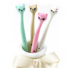 20Pcs Playful Expression Cartoon Cat Black Ink Gel Pens Creative Stationery Student Prize Supplies Pen Cute Gifts Material