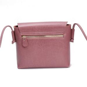 Image 4 - Borsa a tracolla da donna Zency stile semplice 100% borsa a tracolla piccola in vera pelle con patta piccola borsa a tracolla marrone nera