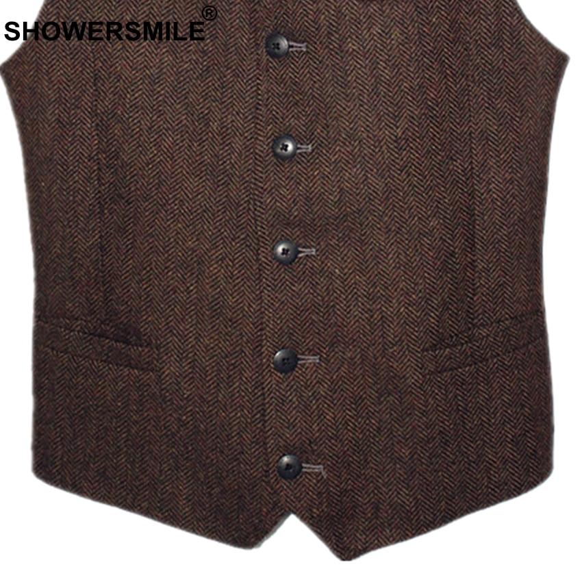 Image 5 - SHOWERSMILE Brown Mens Vest British Vintage Men Herringbone Vest  Tweed Jacket Wool Fabric Sleeveless Blazer Brand Clothingtweed  vestmens vintage vestsvintage tweed vest