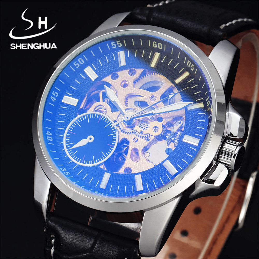 Mens Watches Top Brand Luxury Shenhua Leather Strap Coated Glass Skeleton Watch Men Automatic Mechanical Wristwatch Male Gift orkina luxury brand men skeleton mechanical wrist watch leather strap male semi automatic watches christmas gift for men box