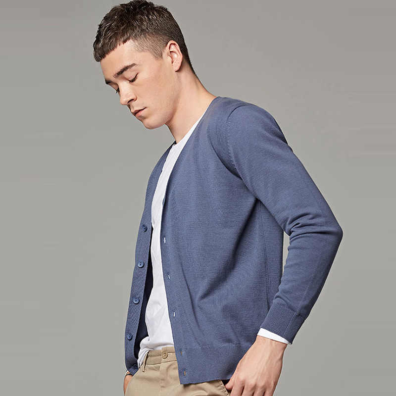 Markless 2019 wiosna sweter mężczyźni Plus rozmiar S-6XL dekolt w serek męskie sweter 100% bawełna dziewiarskie Cardigans pull homme sueter hombre