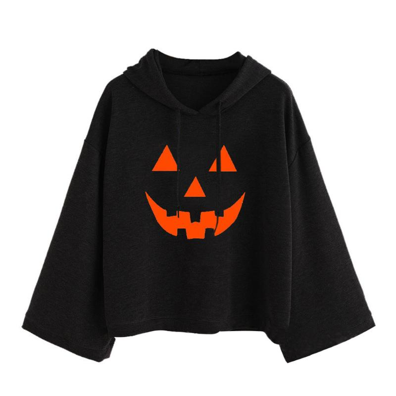 Women Hoodies Print Pumpkin Pattern Loose Pullover Cotton Casual Drawstring Hoodies Girls Fashion Hip Hop Black Sweatershirt