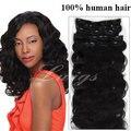 Lwigs extensões de cabelo humano, 7 pcs 100% Brasileira virgem do cabelo da onda do corpo grampo em extensões do cabelo cor natural para as mulheres negras